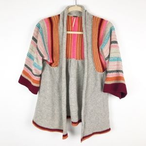 Free People Grey Wool Wide Sleeve Striped Cardigan